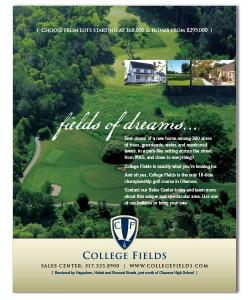 College Fields Golf Course Ad